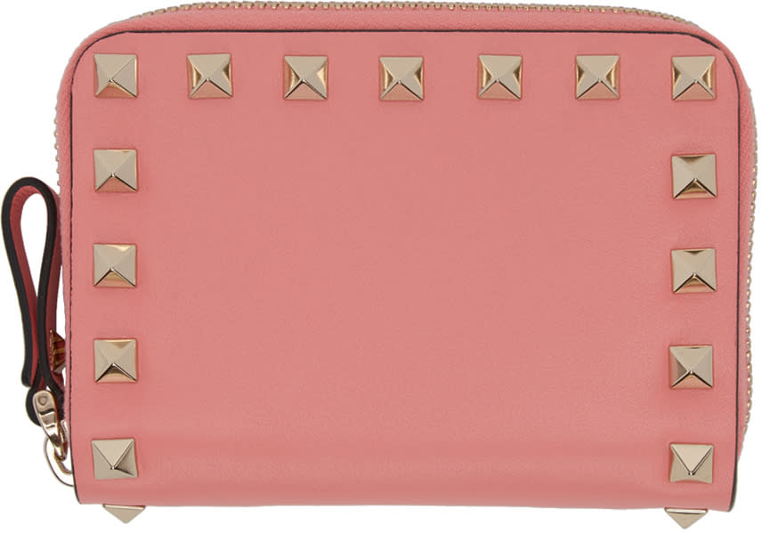 Valentino Pink Small Rockstud Zip Wallet