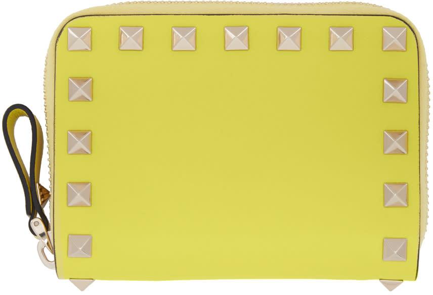 Valentino Yellow Small Rockstud Zip Wallet
