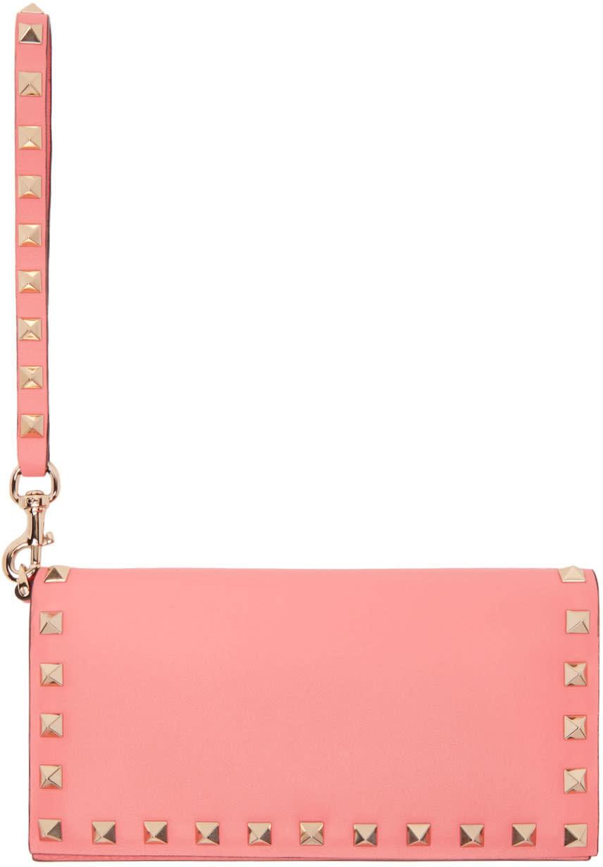 Valentino Pink Rockstud Flap Wallet