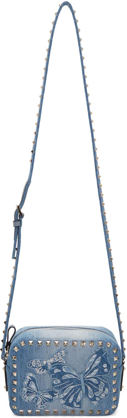 Valentino Blue Denim Embroidered Rockstud Camera Bag