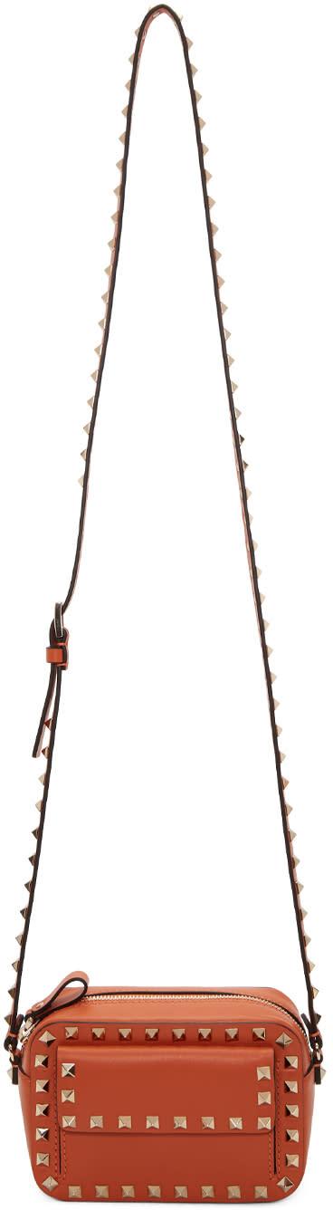 Valentino Orange Small Rockstud Crossbody Bag