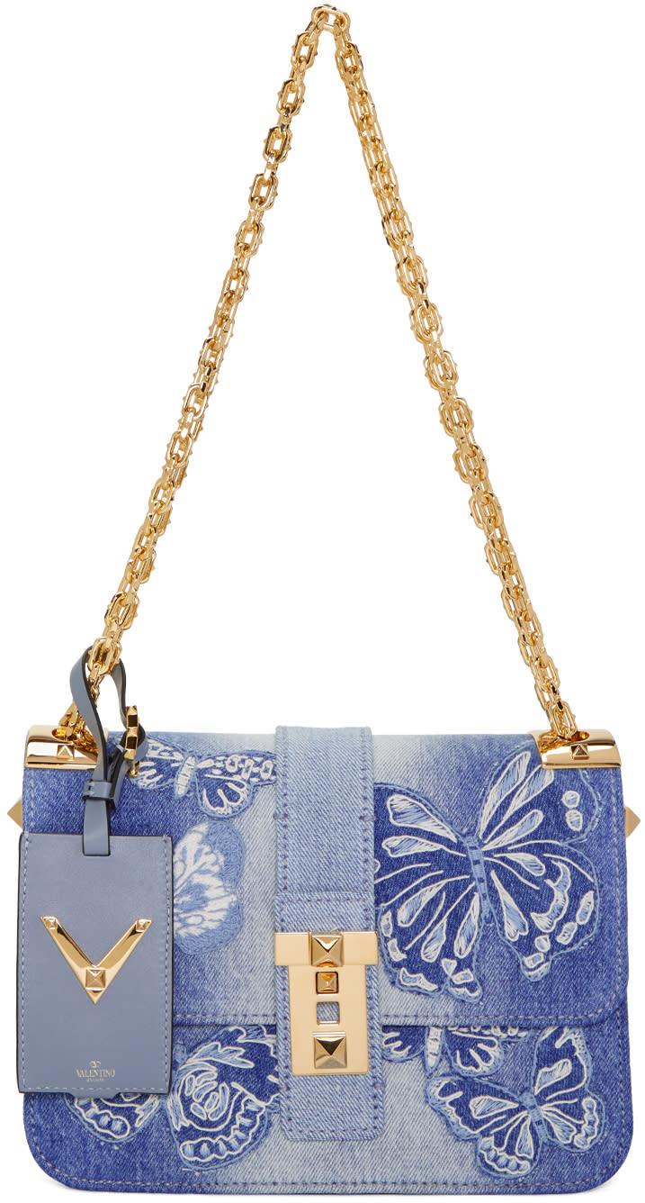 Valentino Blue Denim Camubutterfly Rockstud Bag