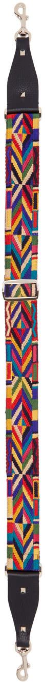 Valentino Multicolor Embroidered Rockstud Shoulder Strap