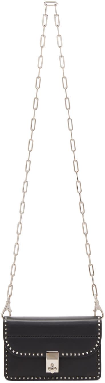 Valentino Black Small Stud Stitching Wallet Chain Bag