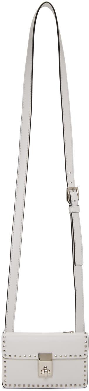 Valentino White Mini Stud Stitching Bag