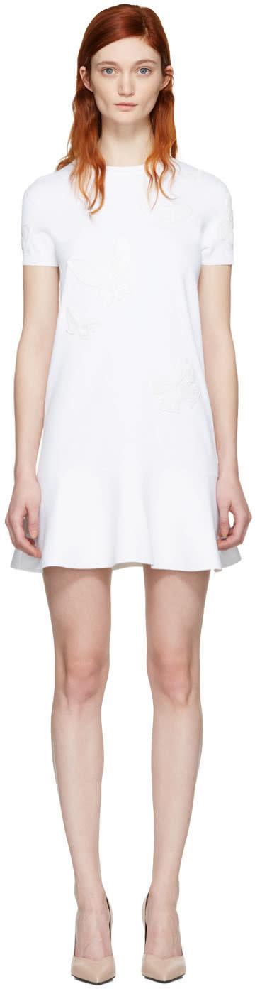 Valentino White Embroidered Knit Dress