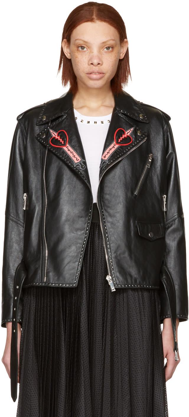 Valentino Black Leather Love Blade Motorcycle Jacket