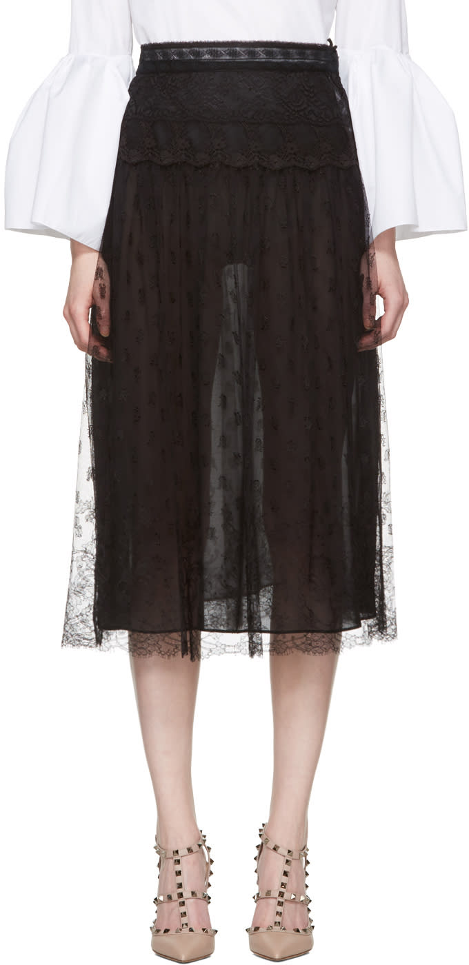 Valentino Black Lace Skirt