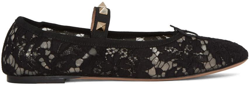 Valentino Black Lace Rockstud Ballerina Flats