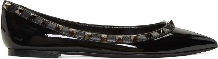 Valentino Black Patent Leather Rockstud Ballerina Flats