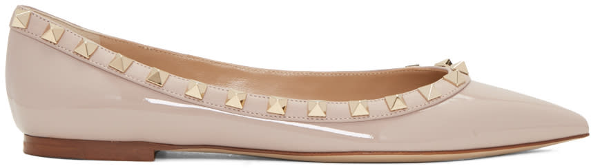 Valentino Pink Patent Leather Rockstud Ballerina Flats