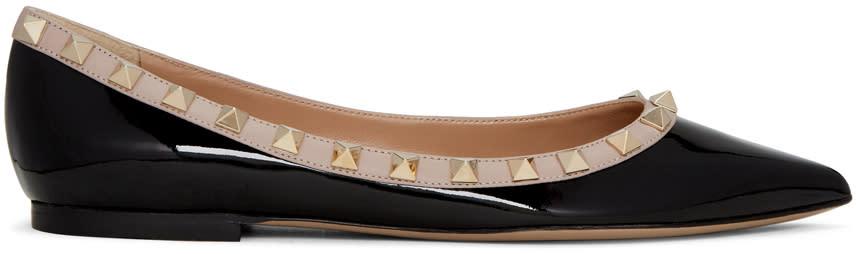 Valentino Black Patent Rockstud Ballerina Flats