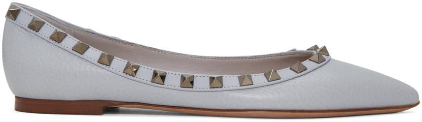 Valentino Grey Rockstud Ballerina Flats
