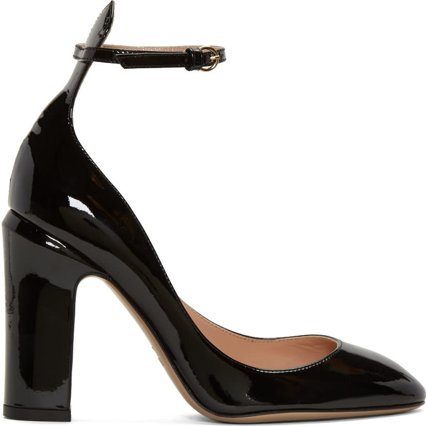 Valentino Black Patent Tall Tan-go Mary Janes
