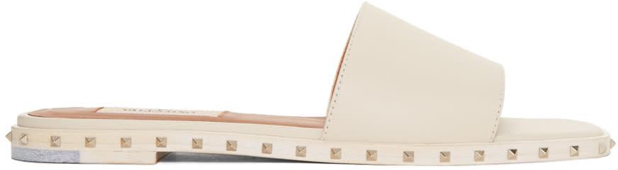 Valentino Ivory Soul Rockstud Slide Sandals