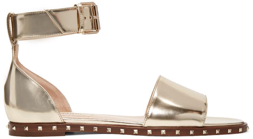 Valentino Gold Patent Soul Stud Sandals