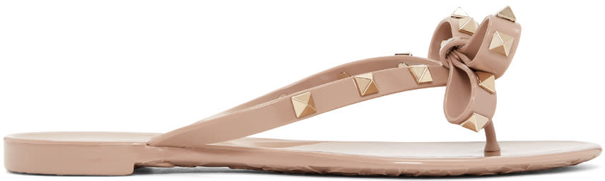 Valentino Pink Rockstud Beach Sandals