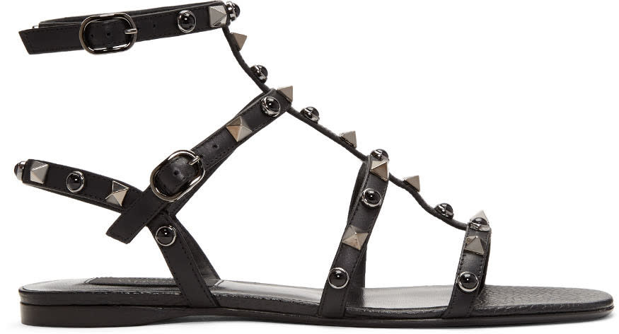 Valentino Black Rockstud and Stone Gladiator Sandals