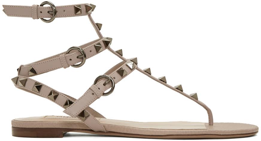 Valentino Pink Rockstud Thong Sandals