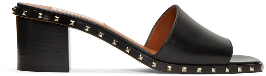 Valentino Black Soul Stud Slip-on Sandals