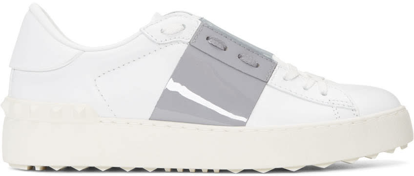 Valentino White and Grey Open Sneakers