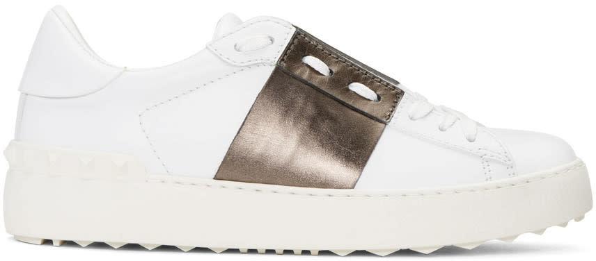 Valentino White and Gunmetal Open Sneakers