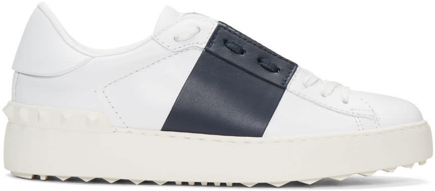 Valentino White and Navy Open Sneakers