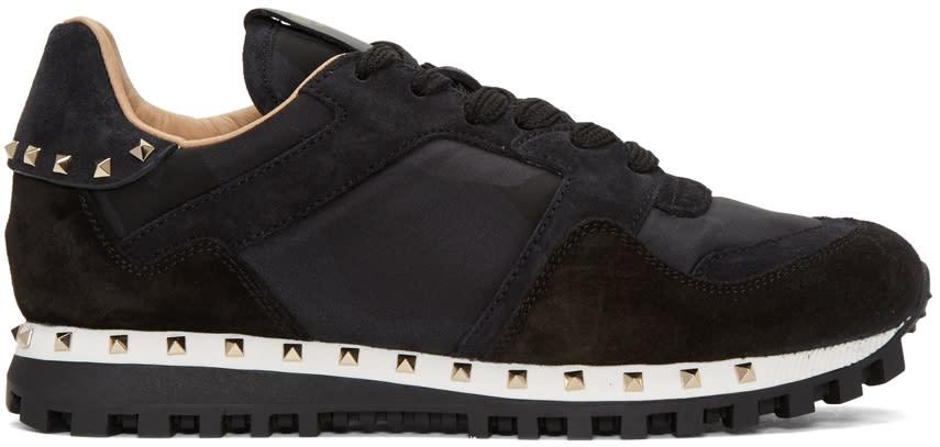 Valentino Black Camo Soul Stud Sneakers