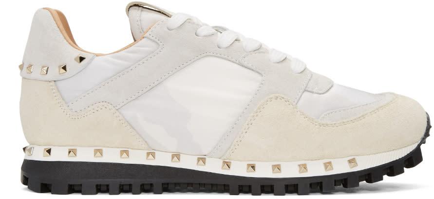Valentino White Camo Rockstud Sneakers