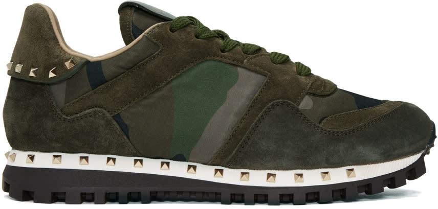 Valentino Green Camo Rockstud Sneakers