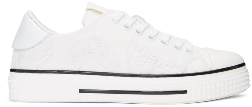 Valentino White Denim Camubutterfly Sneakers