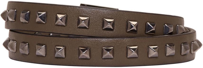 Valentino Green Mini Stud Double-wrap Bracelet