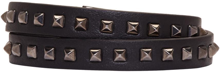 Valentino Black Mini Stud Double-wrap Bracelet