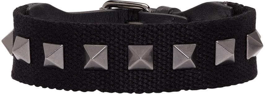 Valentino Black Textile Rockstud Bracelet