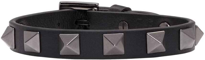 Valentino Balck Leather Rockstud Bracelet