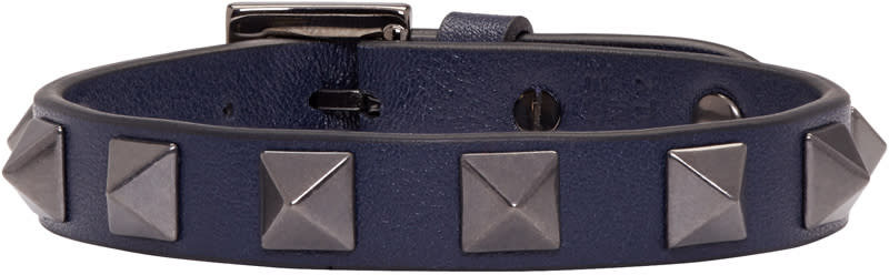 Valentino Navy Leather Rockstud Bracelet