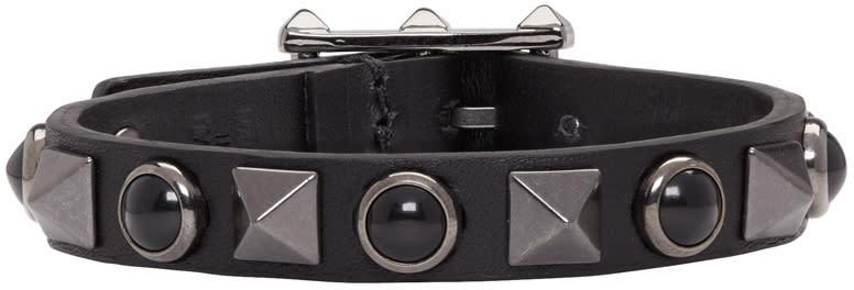 Valentino Black Stone and Rockstud Bracelet