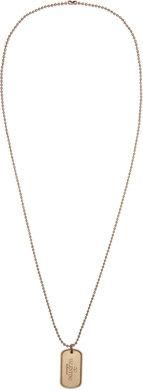 Valentino Gold Dog Tag Necklace
