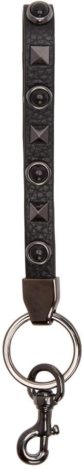 Valentino Black Stone and Rockstud Keychain