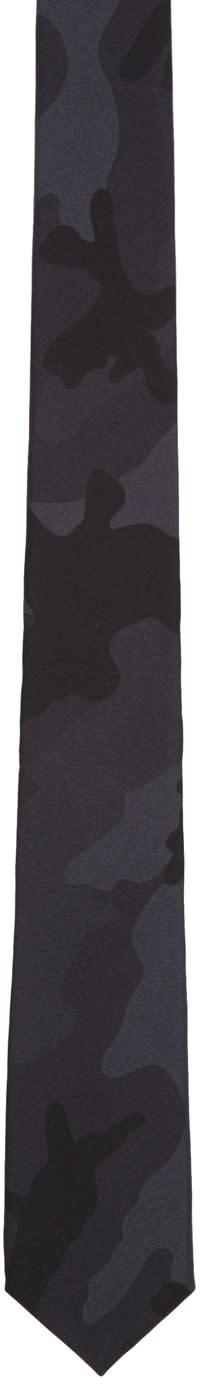 Valentino Black Silk Camo Tie