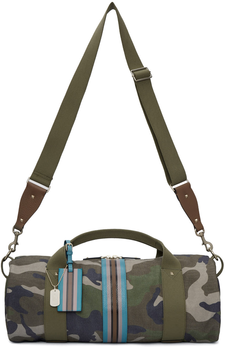 Valentino Green Camo Stripe Duffle Bag