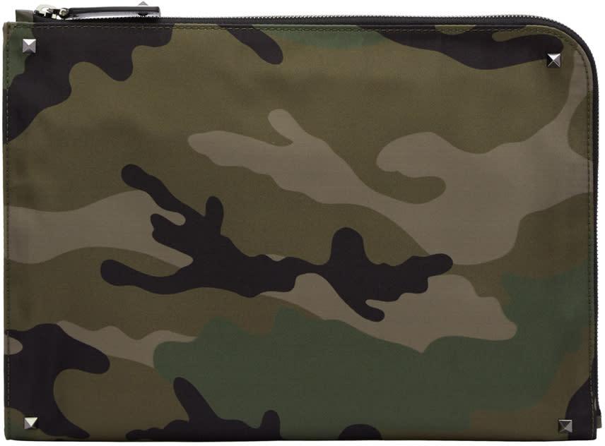 Valentino Green Camouflage Zip Pouch