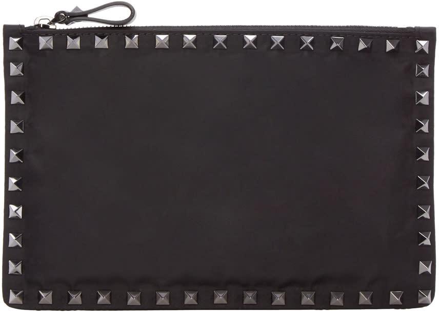 Valentino Black Nylon Rockstud Pouch