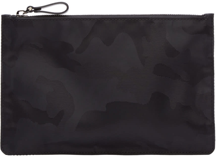 Valentino Black Camouflage Nylon Pouch