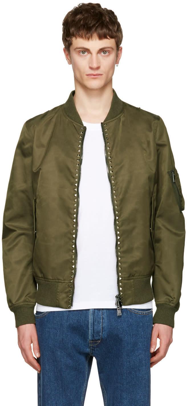 Valentino Green rockstud Untitled 15 Bomber Jacket