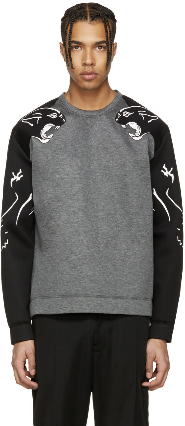 Valentino Grey Panther Sleeve Pullover