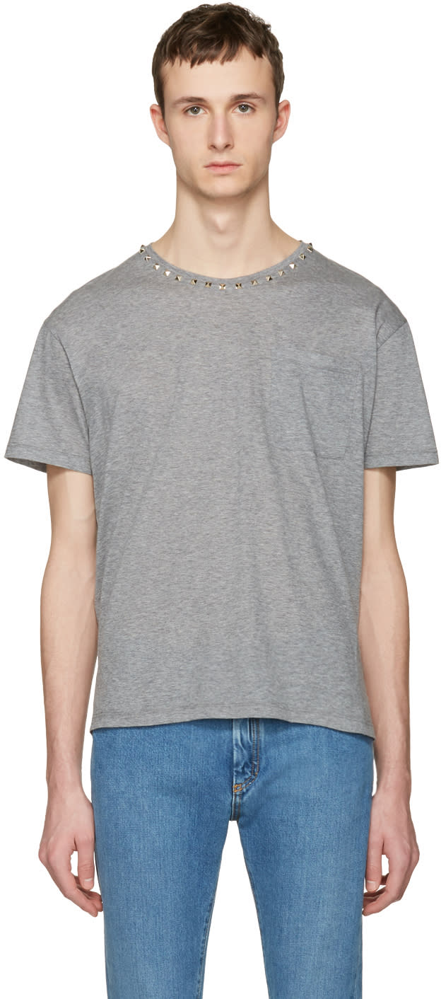 Valentino Grey Studs T-shirt