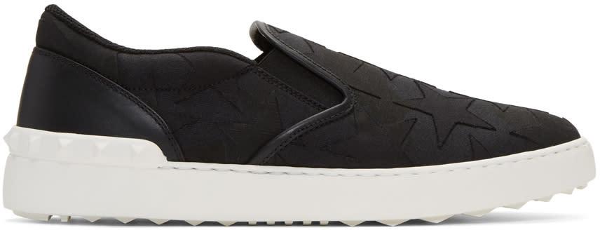 Valentino Black Rockstud Stars Slip-on Sneakers