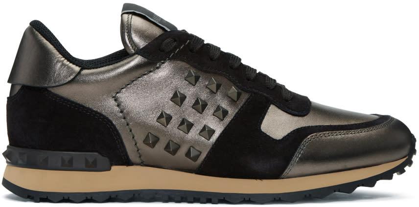 Valentino Gunmetal and Black Rockstud Sneakers