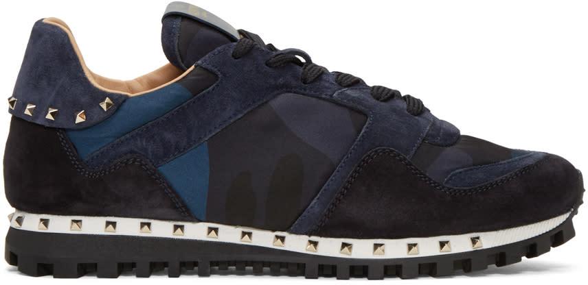 Valentino Navy Rockstud Sneakers